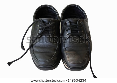 Shoes black students on white background - stock photo