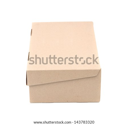 Shoes box is located on the white background