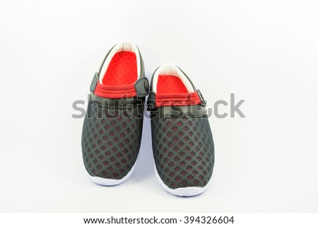 Shoes casual color black red on the white background