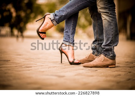 Shoes. Couple. Couple in love. passion.  - stock photo