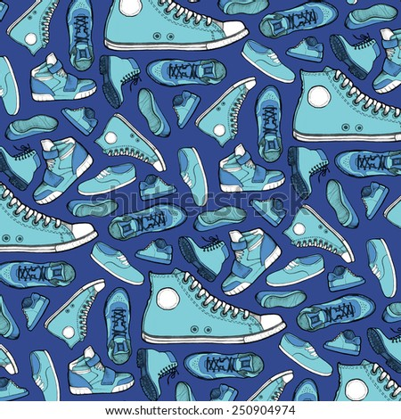 Shoes drawing colored pattern.  - stock photo