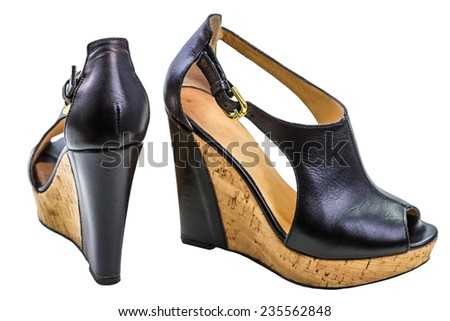 shoes for women on the platform isolated on white - stock photo