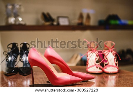 Shoes in a luxury fashion store. - stock photo