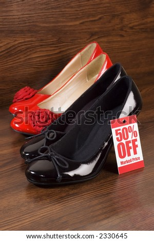 shoes in a shop on sale - stock photo