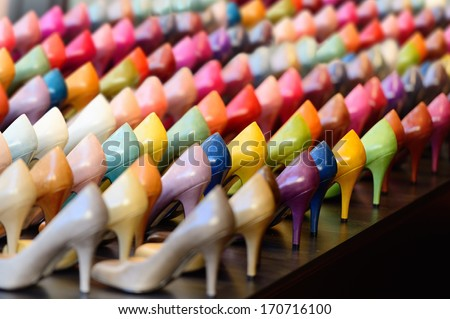 Shoes in shop window display - stock photo
