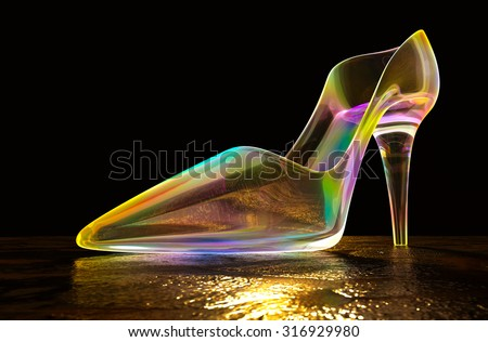 Shoes iridescent glass on the floor in the dark, 3d rendering. - stock photo