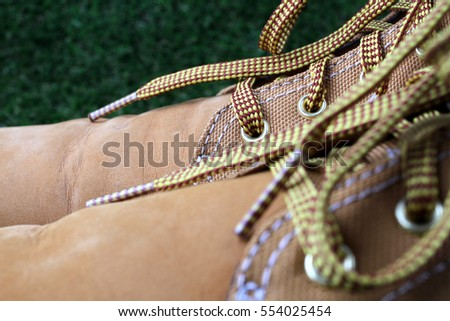 shoes isolated on grass background