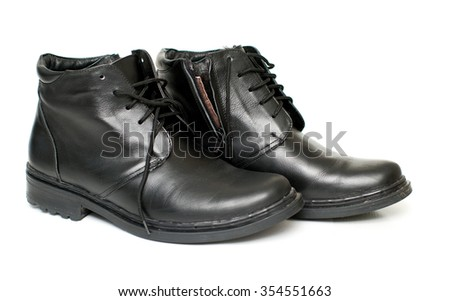 Shoes Men's black leather shoes for winter