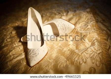 shoes of the bride - stock photo
