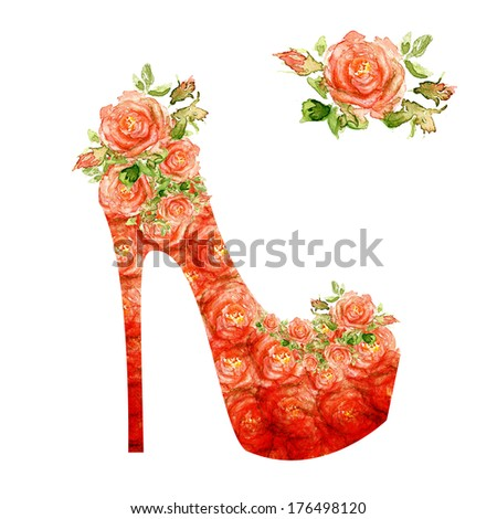 Shoes on a high heel. Silhouette of a women shoes, from water color roses - stock photo