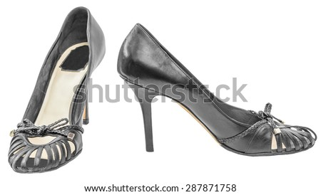 Shoes open leather womens sandals high heel bow tie decoration isolated white background - stock photo