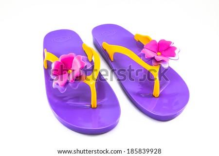 shoes purple on white background - stock photo