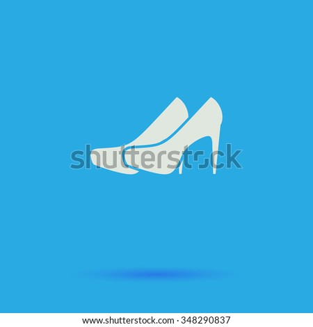 shoes White flat simple pictogram on blue background with shadow