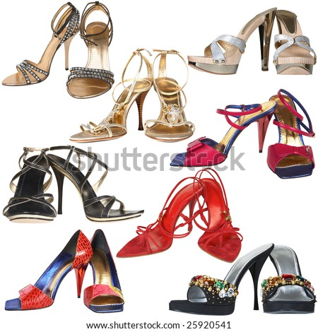 Shoes with a high heel on a white background - stock photo
