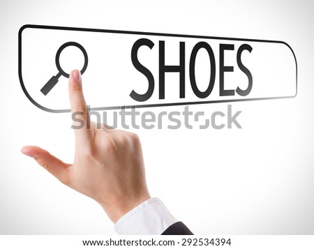 Shoes written in search bar on virtual screen - stock photo