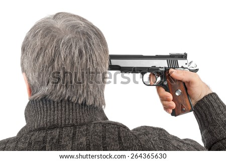 Shoot in head with gun isolated on white background