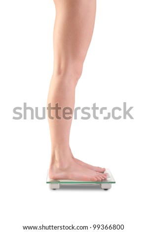 Shoot of young caucasian woman legs on scales. Isolated over white background