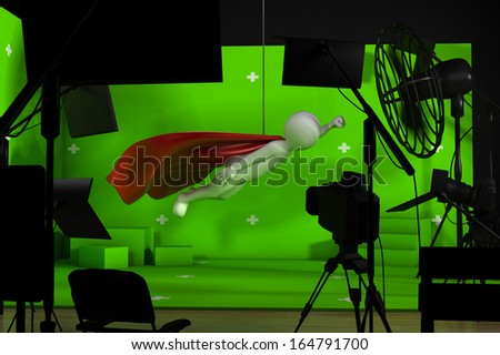 shooting in studio with a green background - stock photo