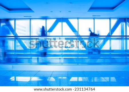 Shooting inside the airport building - stock photo