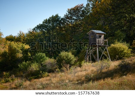 Shooting lodge in forest of central Bulgaria - stock photo