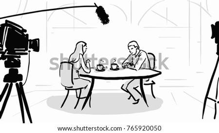 Line Art Couple : Shooting movie scene couple restaurant black stock illustration