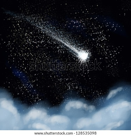 shooting star going across a starry sky - stock photo