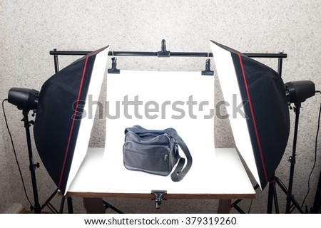 Shooting Table and studio lighting system - stock photo