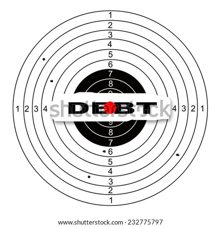 Shooting target with word debt made in 2d software