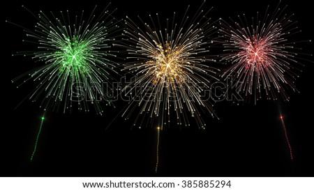 shooting three fireworks - stock photo