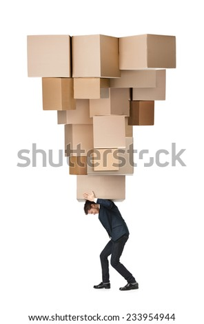 Shop assistant carries the huge parcel, isolated, white background - stock photo