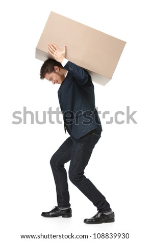 Shop assistant carries the parcel, isolated, white background - stock photo