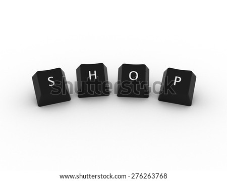 SHOP Computer Keys on white background