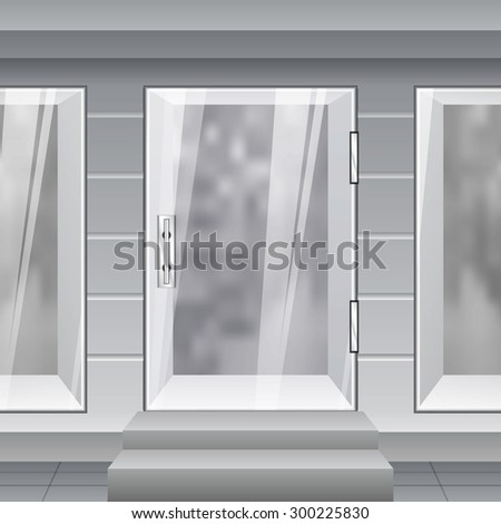 Shop Front. Exterior horizontal windows empty for your store  - stock photo