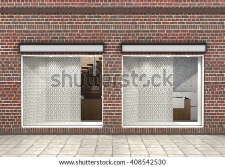 Shop Front. Exterior horizontal windows empty for your store product presentation or design. 3d illustration - stock photo