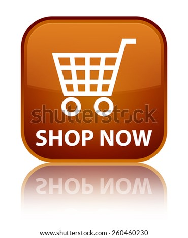 Shop now brown square button - stock photo