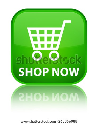 Shop now green square button - stock photo