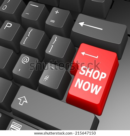 Shop now key on computer keyboard