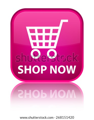 Shop now pink square button - stock photo