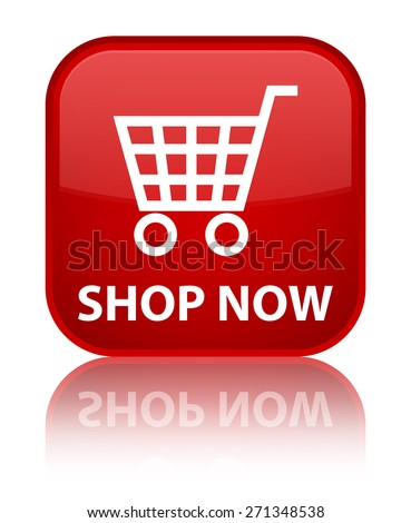 Shop now red square button - stock photo