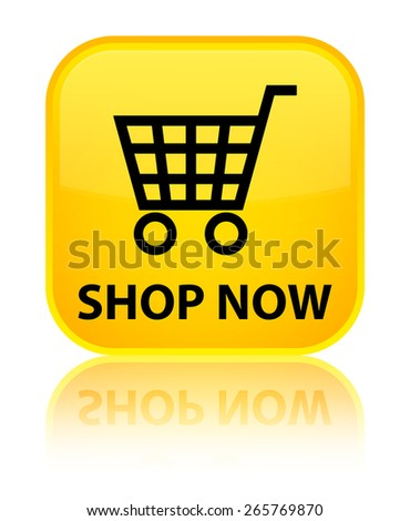 Shop now yellow square button - stock photo