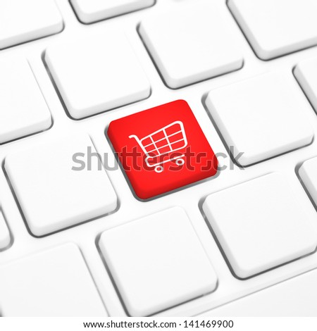 Shop online business concept, Red shopping cart button or key on white keyboard - stock photo