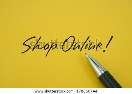 Shop Online! note with pen on yellow background