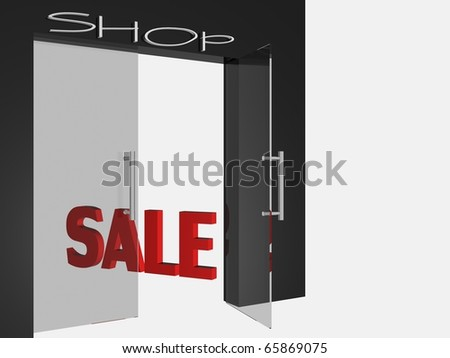Shop open door - stock photo