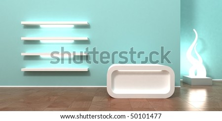 Shop, retail store, boutique interior background and header. Cashier with empty space for your logo, showcase shelves for products, modern colors, empty wall for your text or logo above cashier.