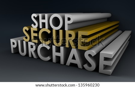 Shop Securely Online with Web Protection Concept - stock photo