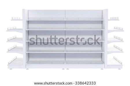 Shop shelves isolated on white