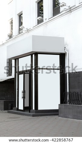 Shop. Showcase in classical style. Day view. White Background