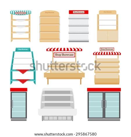 Shop showcases, store shelves or market stalls set - stock photo