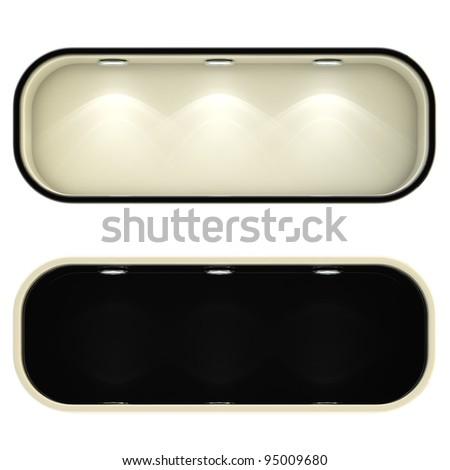 Shop window copyspace black and white showcase with backlight illumination, set of two isolated on white - stock photo