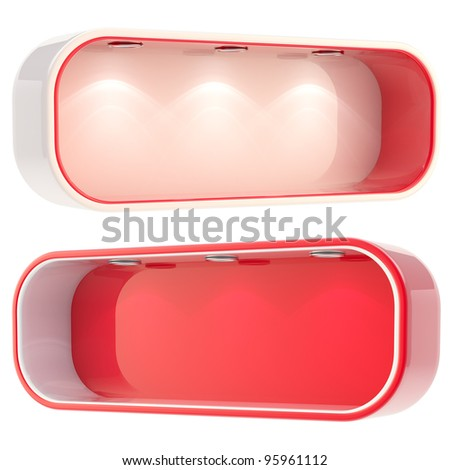 Shop window copyspace red showcase with backlight illumination, set of two isolated on white - stock photo